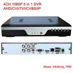 H.264 4 Channel 1080P Hybrid DVR Support AHD CVI TVI Analog IP Cameras 5 in 1