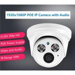 H.265 1920x1080P 2Mp Indoor IP POE IR Dome camera with audio