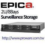 EPICa EP-2803UA Surveillance Storage - 2U 8bays, USB 2.0/eSATA/iSCSI - SATA II RAID Subsystem