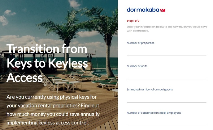 dormakaba launches online ROI calculator for vacation rental industry