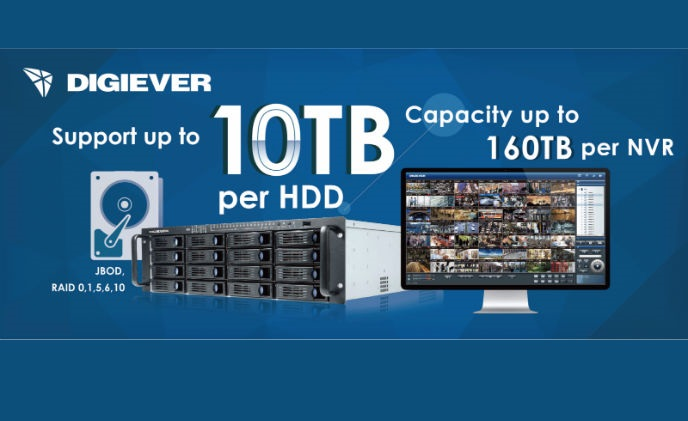 DIGIEVER NVR supports 10TB hard disk drives for long-term storage needs