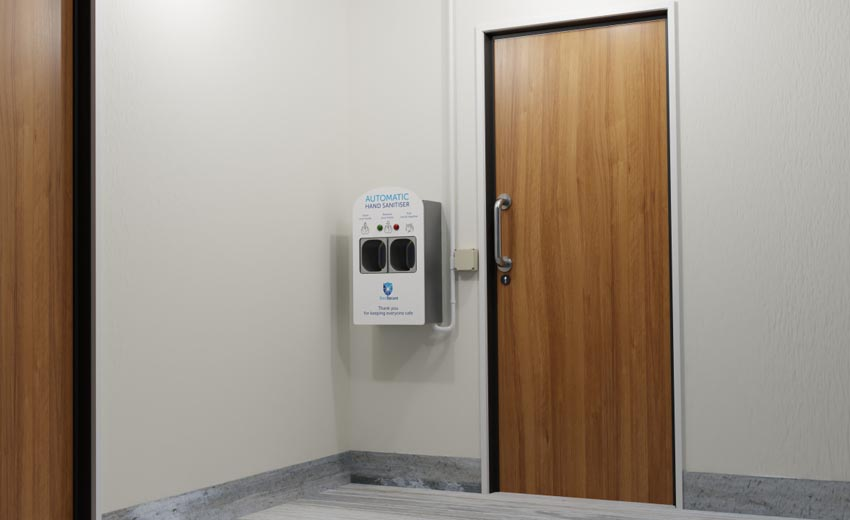 Sanitizer-integrated access control to provide extra care from COVID-19