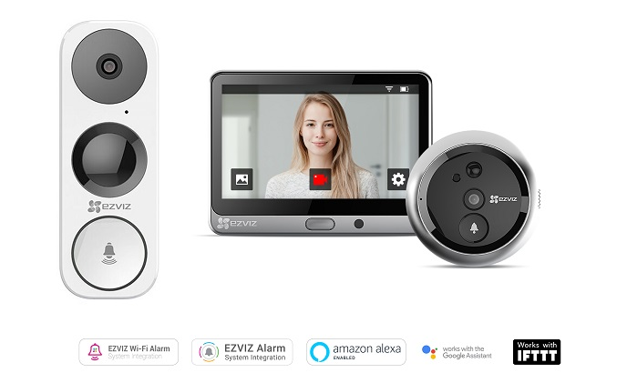 EZVIZ introduces DB1 Wi-Fi video doorbell and DP1 door viewer to UK