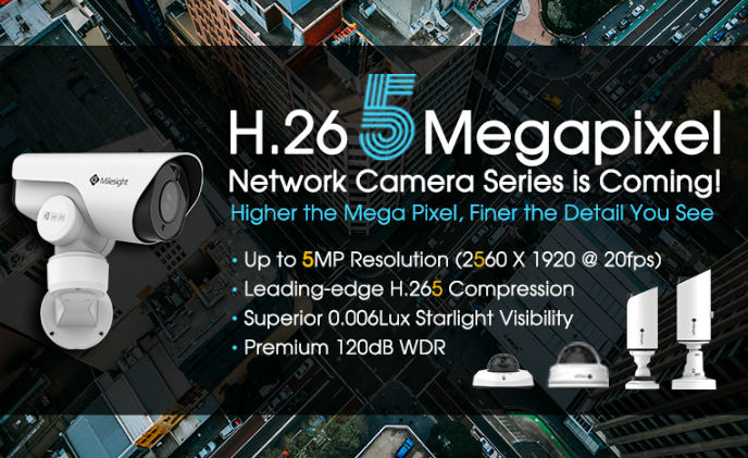 Milesight unveils H.265 5 megapixel network camera series