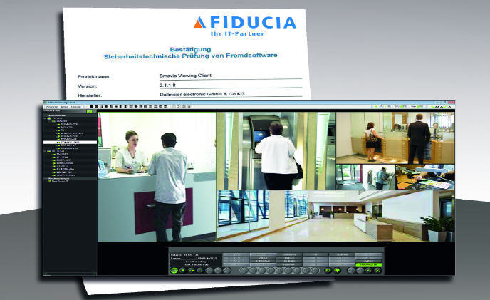 Smavia Viewing Client software by Dallmeier certified by Fiducia