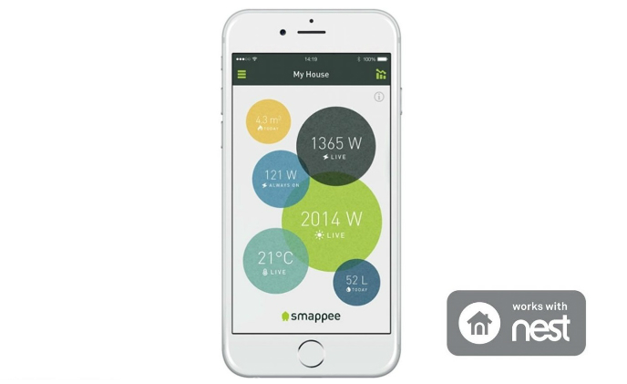 Smappee works with Nest to provide energy monitoring and control via App