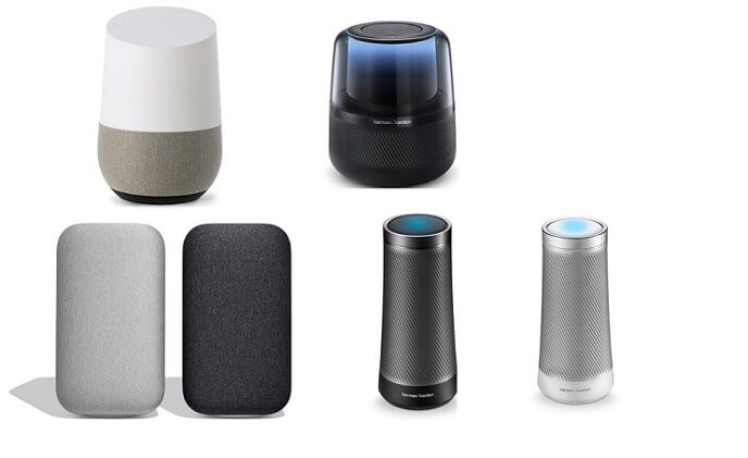 Mainstream smart speakers available on the market