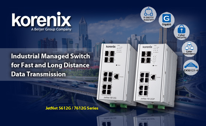Korenix's industrial 12 ports Gigabit switch series for secure surveillance applications