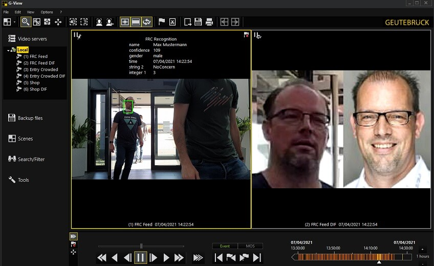 Industry leading SAFR facial recognition for live video integrated with Geutebrück VMS