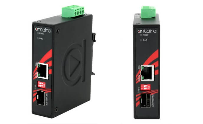 Antaira releases industrial compact Gigabit media converter with SFP slot and PoE injector