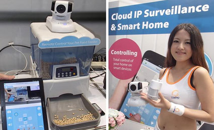 Compro demonstrates remote pet feeder and wireless alarm kit at Computex 2014