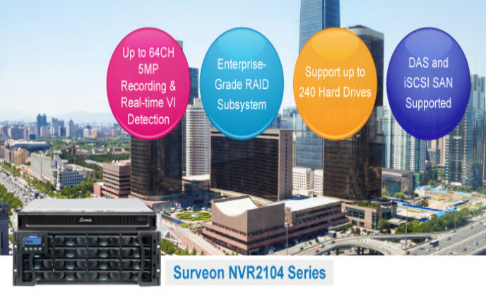 Surveon introduced NVR2104 with RAID Subsystem for central management