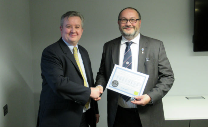 Tom Jenkins at ABLOY UK celebrates 25 years MLA membership