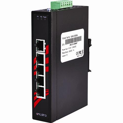 LNX-500A(-T) 10/100TX Slim Industrial Unmanaged Ethernet Switch