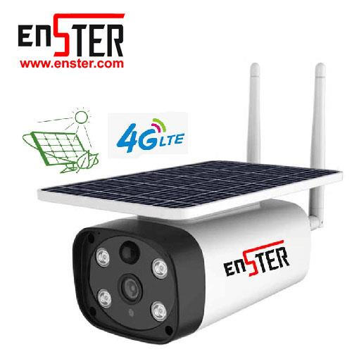 Enster 4G Sim Card Outdoor Solar Camera Wireless Camera Solar Energy Panel Pir Motion Detection