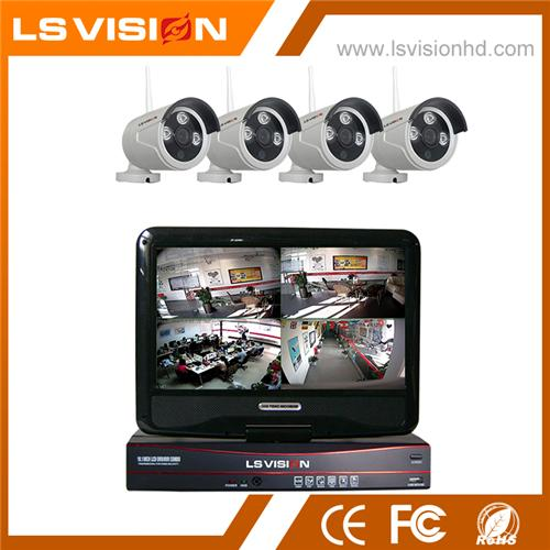 LS VISION 4CH 720P 2.4G Wireless Wifi NVR IR Bullet Cameras System with 10