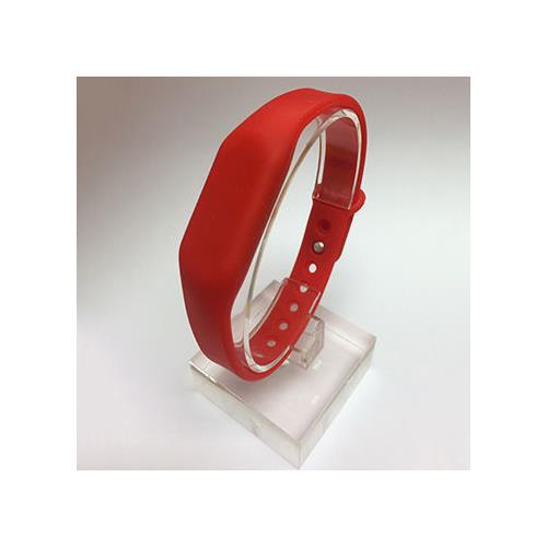 RFID Silicone Rubber Wristband, w/ Pin-and-Tuck Closure, Red, NXP NTAG213, R/W