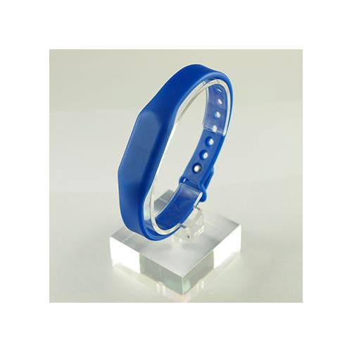 RFID Silicone Rubber Wristband, w/ Pin-and-Tuck Closure, Blue, MIFARE Classic® 4K, 13.56MHz, R/W