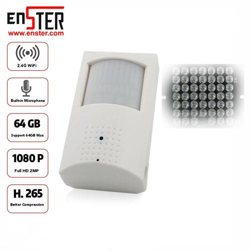 ENSTER Invisible IR LED Covert WiFi Audio IP Camera PIR Cam H.265/H.264 1080P ICSEE P2P Remote View