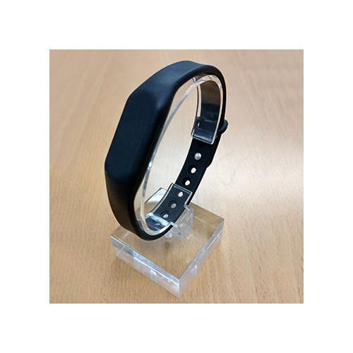 RFID Silicone Rubber Wristband, w/ Pin-and-Tuck Closure, Black, NXP NTAG213, R/W