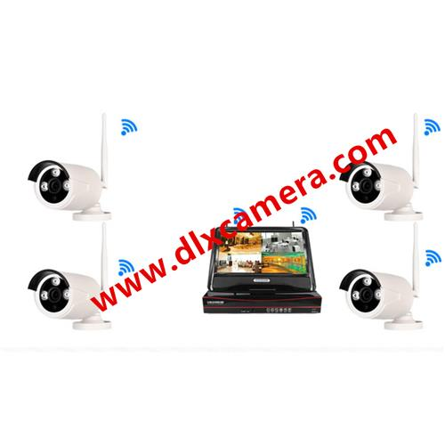 "4chs plug and play 960p water-proof WIFI IP IR Bullet camera NVR kit with 10"" display"