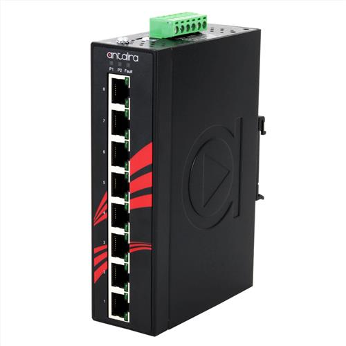 8-Port Industrial PoE+ Unmanaged Ethernet Switch (LNP-0800G-24-E-T)
