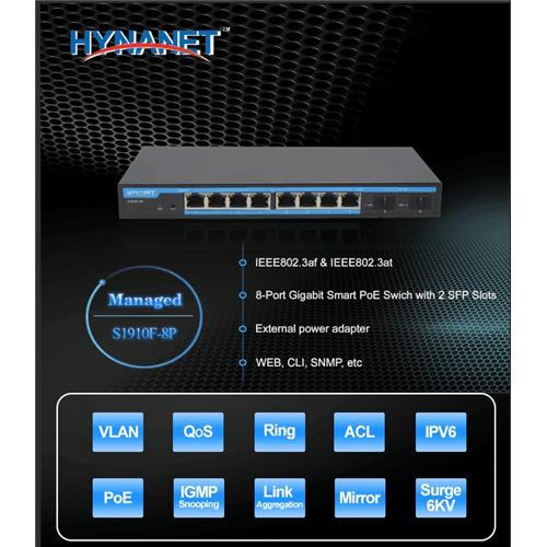 Desktop L2+ Managed PoE Switch 9 port 10/100/1000M