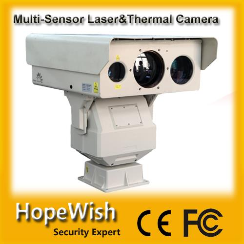 ultra long range multi-sensor PTZ infrared day/night laser and thermal surveillance camera