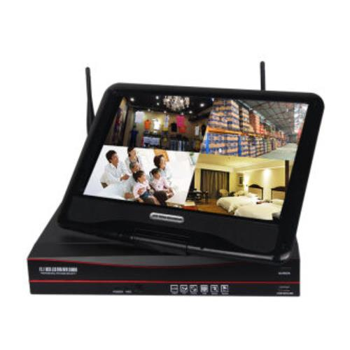 4channels 1.3Mp 960p plug and play wireless WIFI NVR with 10inch display