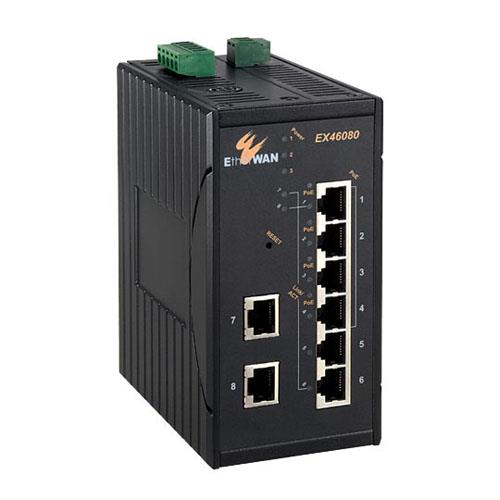 EX46100 Series Hardened Web-smart 6 to 8-port 10/100BASE-TX and 2-port 100BASE-FX PoE+ Switch