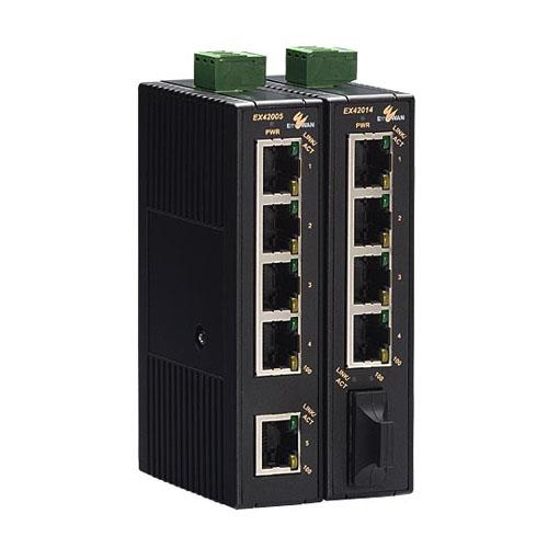 EX42000 Series  Industrial Unmanaged 4 to 5-port 10/100BASE-TX and 1-port 100BASE-FX Ethernet Switch