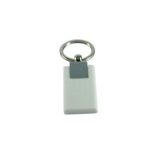 PC (Polycarbonates) Key Fob with Metal Fittings - 125kHz, T5577, R/W, White, KT6-050E-0N
